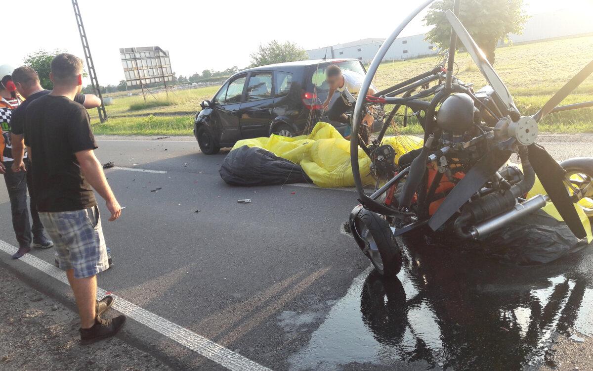 Paralotniarz zaczepił o linię energetyczną i runął na auto