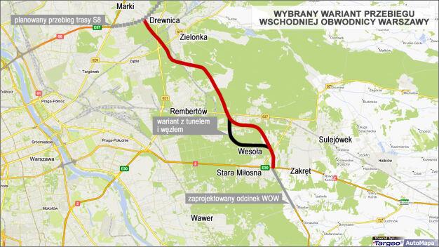 Wschodnia Obwodnica Warszawy: Wesoła protestuje, chce węzła i tunelu