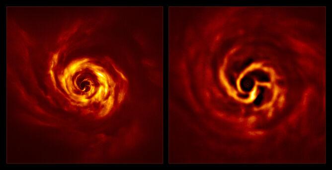 Zdjęcia dysku wokół AB Aurigae uzyskane przez SPHERE (po lewo całość, po prawo zbliżenie na centralną część) (ESO/Boccaletti et al.)