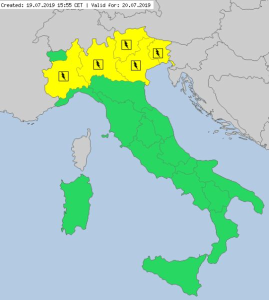 Ostrzeżenia meteorologiczne we Włoszech (meteoalarm.eu)
