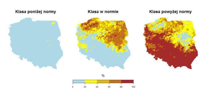 """Prawdopodobieństwo wystąpienia klas """"poniżej normy"""", """"w normie"""" i """"powyżej normy"""" dla średniej temperatury powietrza w sierpniu 2020 roku (IMGW)"""