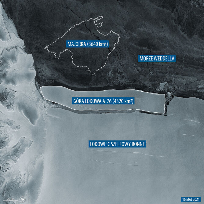 Góra lodowa A-76 oderwała się od lodowca szelfowego Ronne (ESA)