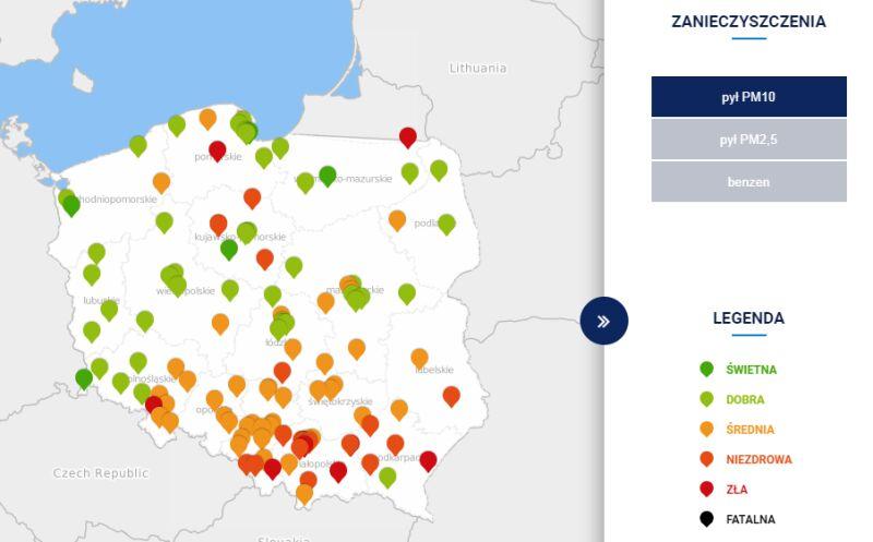 Stężenie pyłu PM10 w Polsce o godzinie 20 (tvnmeteo.pl za GIOŚ)
