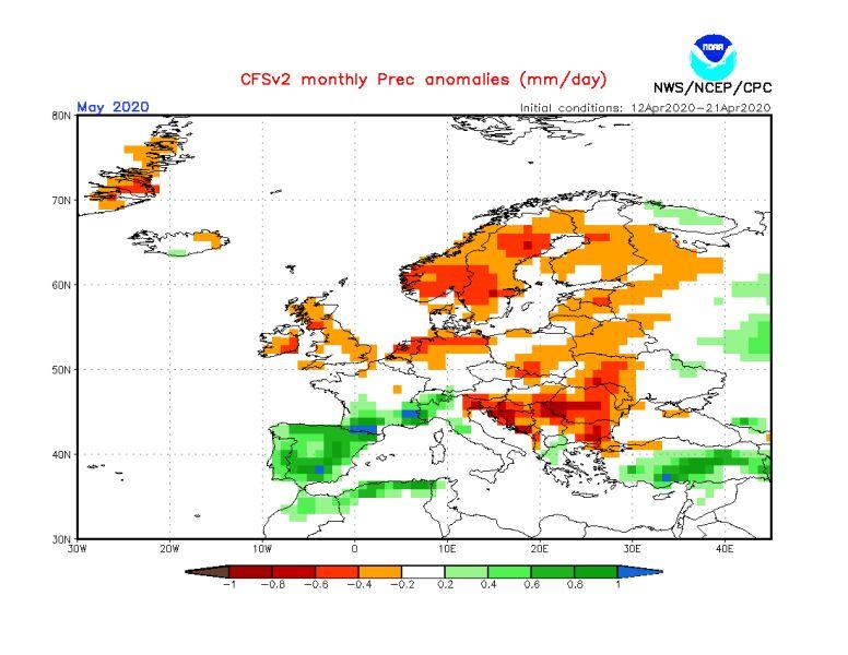 Prognoza odchylenia opadów od normy na maj 2020 (NOAA)