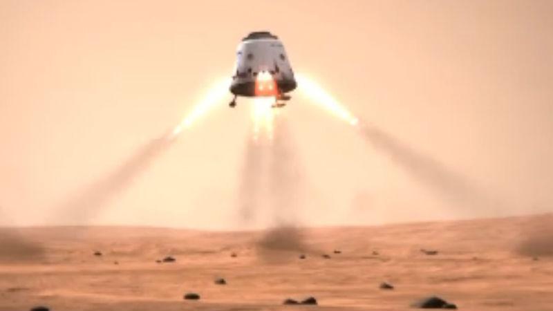 Wyobrażenie kapsuły Dragon lądującej na Marsie