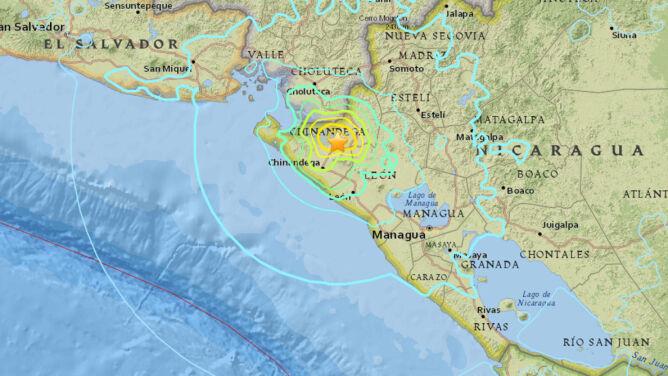 Dwa silne trzęsienia ziemi. <br />Epicentra w Oceanii i Nikaragui