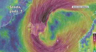 Porywy wiatru na Islandii w kolejnych godzinach (Ventusky.com)