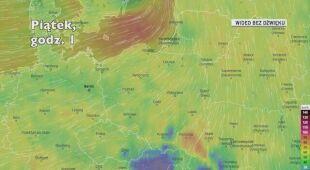 Prognozowane porywy wiatru najbliższych dniach (Ventusky.com)